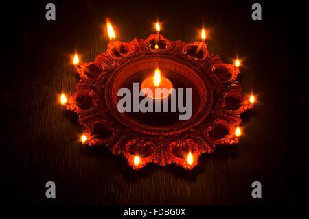 Indian Festival Diwali plate diya Nobody - Stock Photo