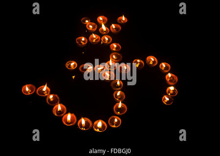 Indian Festival Diwali diya Om Decoration nobody - Stock Photo