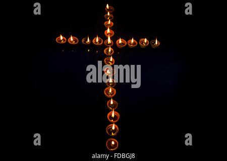 Indian Festival Christmas  Cross Shape diya nobody - Stock Photo