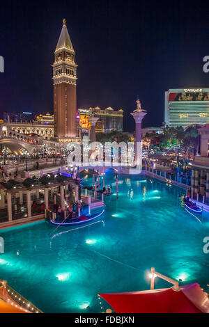 The Venetian hotel and replica of a Grand canal in Las Vegas - Stock Photo
