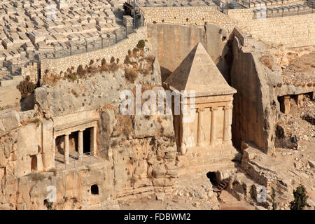Tombs of Absalom, Zechariah and Benei Hezir in the Kidron valley, Jerusalem, Israel - Stock Photo