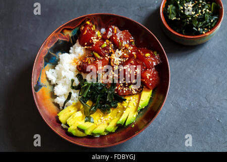 Traditional Hawaiian poke tuna dish - Stock Photo
