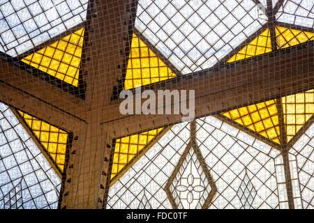 Art Nouveau, Detail of the glass dome of the Koruna Palace, Wenceslas Square, Prague, Czech Republic - Stock Photo