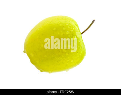 Fresh green apple isolated on white with water drops - Stock Photo
