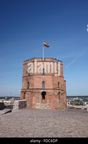 Gediminas Tower on Castle Hill in Vilnius, Lithuania - Stock Photo
