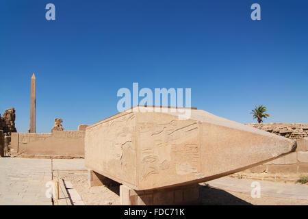 Felled Obelisk of Hatshepsut in  the Temple of Karnak Luxor  ancient Thebes Egypt under blue sky. detail of pyramidal - Stock Photo