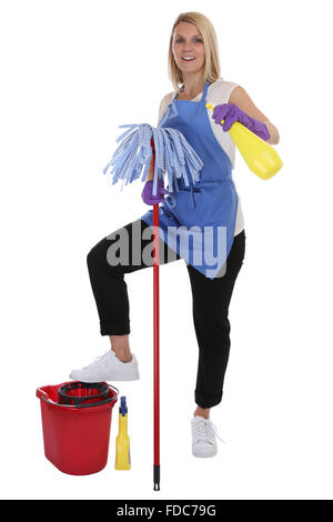 Cleaning lady service cleaner woman job occupation full body isolated on a white background - Stock Photo