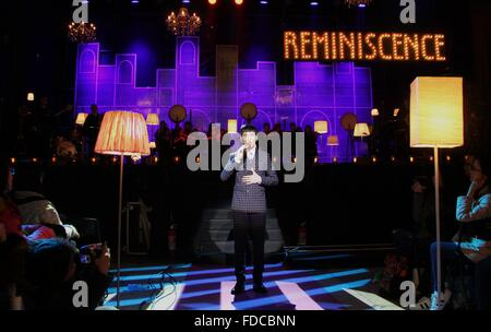 Taipei's Taiwan. 30th Jan, 2016. Singer Jam Hsiao performs at a concert to promote his album 'Reminiscence' in Taipei, - Stock Photo