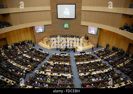 Addis Ababa, Ethiopia. 30th Jan, 2016. A view of the 26th AU summit is seen in Addis Ababa, capital of Ethiopia, - Stock Photo