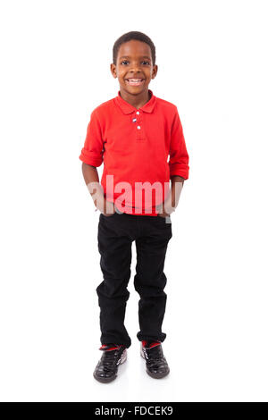Portrait of a cute african american little boy smiling, isolated on white background - Stock Photo
