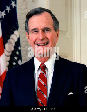 Official White House photo of George H W Bush, 41st  President of the USA, c.1989 - Stock Photo