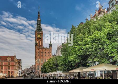 Main City (Glowne Miasto) Town Hall at the Long Market, Gdansk, Pomerania, Poland, Europe - Stock Photo