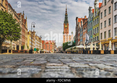 Main City (Glowne Miasto) Town Hall at the Long Market, Gdansk, Pomerania, Poland, Europe - Stock Photo
