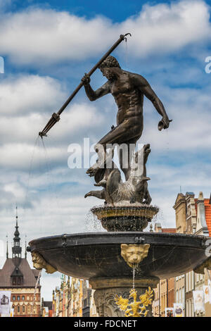 The Fountain of Neptune is a much-photographed symbol of the Hanseatic City of Gdansk, Pomorskie, Poland, Europe - Stock Photo