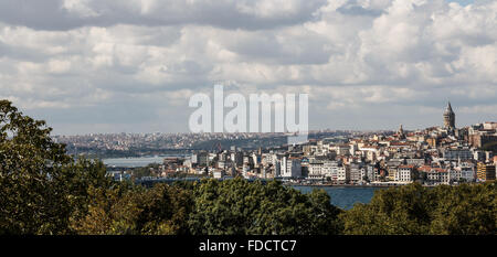 Istanbul, Turkey Landscape across the Bosphorus and Galata Tower - Stock Photo