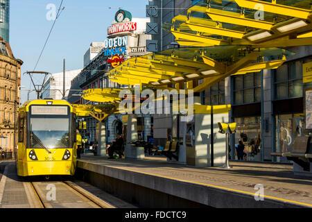 Exchange Square Metrolink tram stop, Corporation Street, Exchange Square, Manchester, England, UK - Stock Photo
