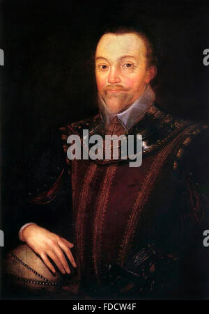 Sir Francis Drake, portrait by Marcus Gheeraerts der Jüngere, painted some time after 1590 - Stock Photo