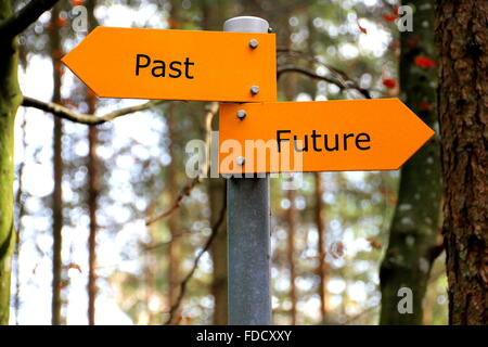 past and future written on a yellow direction sign - Stock Photo
