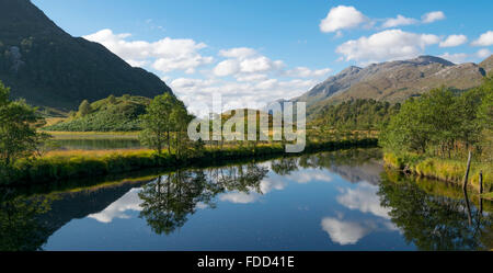 View looking downstream of Callop River towards Loch Shiel, Glenfinnan, Scotland, UK. - Stock Photo