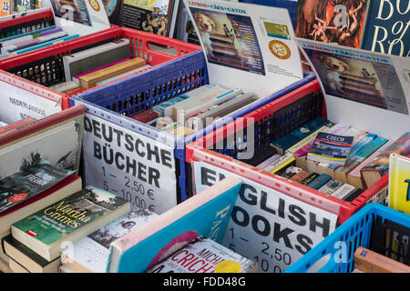 secondhand bookstall with english and german books for sale - Stock Photo