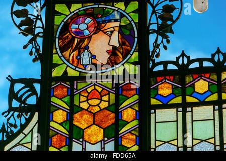 Prague Municipal House. Prague Art Nouveau, Stained glass, Czech Republic, Europe - Stock Photo