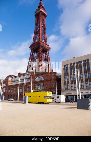 Blackpool tower and tramway on a spring morning. - Stock Photo