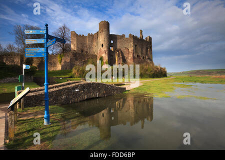 Laugharne Castle in Carmarthenshire in South Wales - Stock Photo