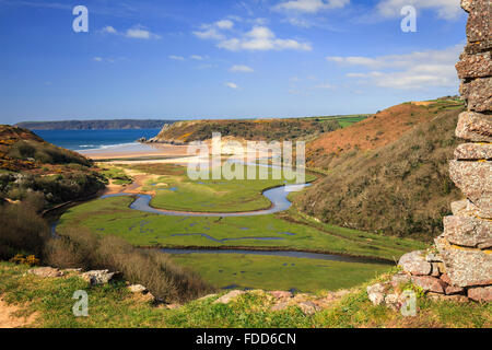 The view from Pennard Castle on the Gower Peninsular in South Wales, with the beach at Three Cliff's Bay in the - Stock Photo
