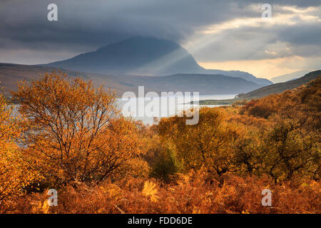 Autumn colour on the Western shore of Loch Loyal in the North West Highlands of Scotland, - Stock Photo