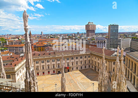 City view from Milan Cathedral Dome roof terrace in Milan, Italy. - Stock Photo