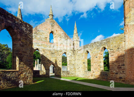 Ruins of church at Port Arthur penal colony in Tasmania - Stock Photo