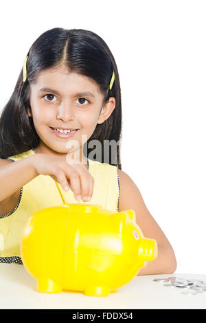 1 Person Only Girl Kid Money Piggy Bank Planning Saving Showing Sitting Smiling - Stock Photo