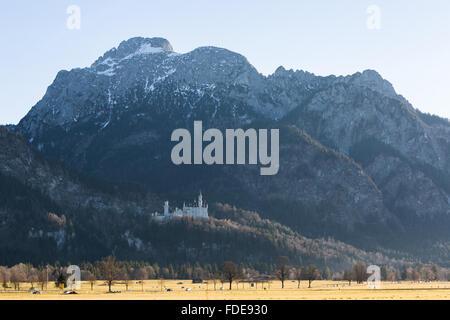 Castle Neuschwanstein near Füssen in Bavaria, Germany - Stock Photo