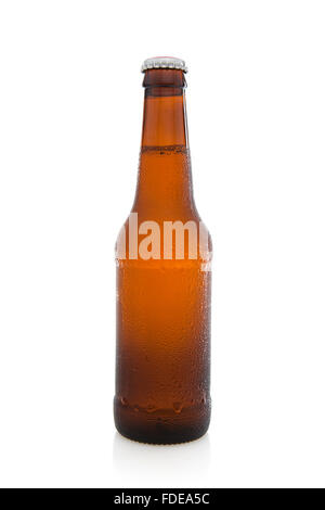Cold Bottle of unlabelled beer on a white background - Stock Photo