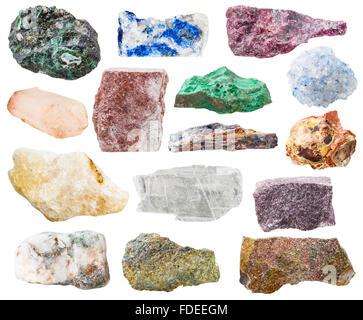 many natural rocks and stones - lazurite, bauxite, eudialyte, alunite, schist, malachite, pyrite, quartz, aventurine, - Stock Photo