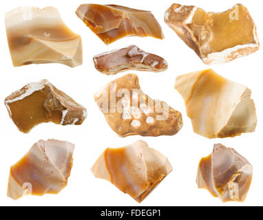 macro shooting of collection natural rock - set of flint mineral stones isolated on white background - Stock Photo