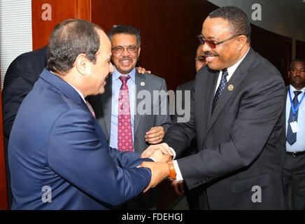 Addis Ababa, Addis Ababa, Ethiopia. 30th Jan, 2016. Egypt's President Abdel Fattah al-Sisi meets with Ethiopian - Stock Photo