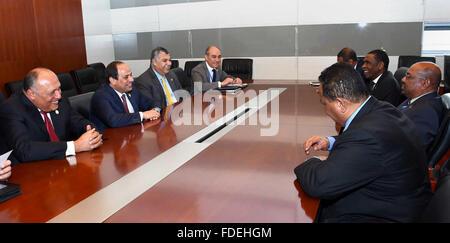 Addis Ababa, Addis Ababa, Ethiopia. 30th Jan, 2016. Egypt's President Abdel Fattah al-Sisi meets with Sudan's President - Stock Photo