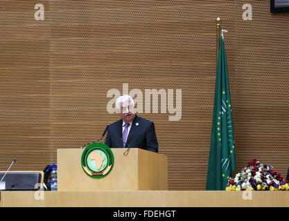 Addis Ababa, Ethiopia. 30th Jan, 2016. Palestinian President Mahmoud Abbas speaks at the 26th African Union (AU) - Stock Photo
