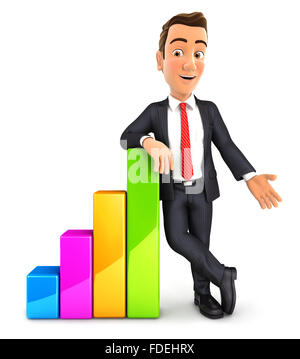 3d businessman leaning against bar chart, isolated white background - Stock Photo