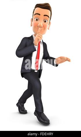 3d businessman walking on tiptoe, isolated white background - Stock Photo