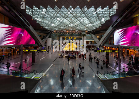 The Departure Lounge, Hamad International Airport, Doha, Qatar - Stock Photo