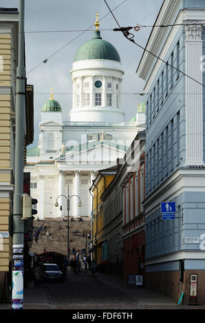 Lutheran Cathedral view from the market square. Helsinki. Finland - Stock Photo
