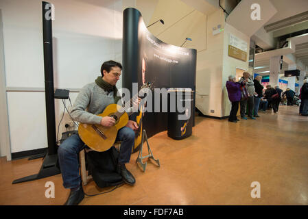 Guitarist playing at the Winter Crafting Fair at Sandown Park racecourse, Surrey - Stock Photo