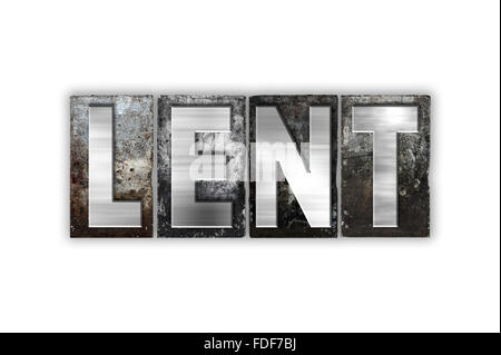 The word 'Lent' written in vintage metal letterpress type isolated on a white background. - Stock Photo