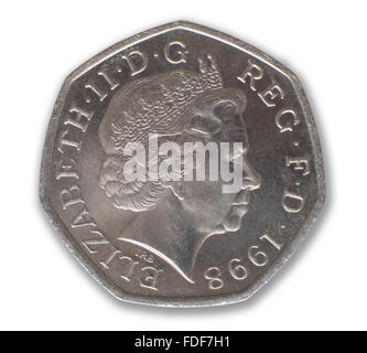 Obverse of commemorative fifty pence piece 25th Anniversary of UK EU membership 1973 1998 - Stock Photo