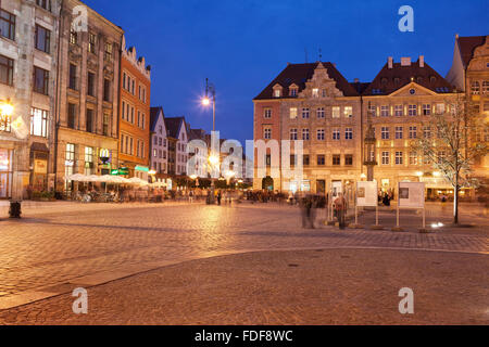 City of Wroclaw by night in Poland, Old Town Market Square, historic tenement houses - Stock Photo