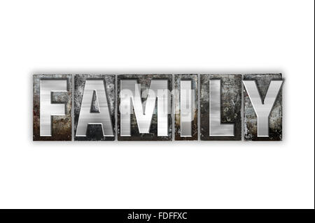 The word 'Family' written in vintage metal letterpress type isolated on a white background. - Stock Photo