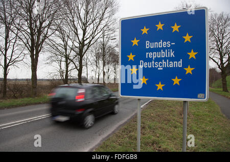 A border sign that reads 'Bundesrepublik Deutschland' (Federal Republic of Germany) is pictured at the border between - Stock Photo