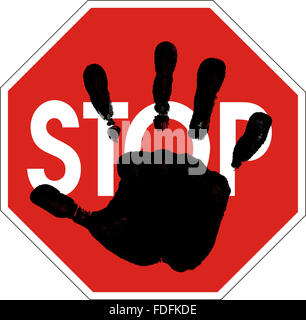 computer generated hand silhouette on Stop sign - Stock Photo